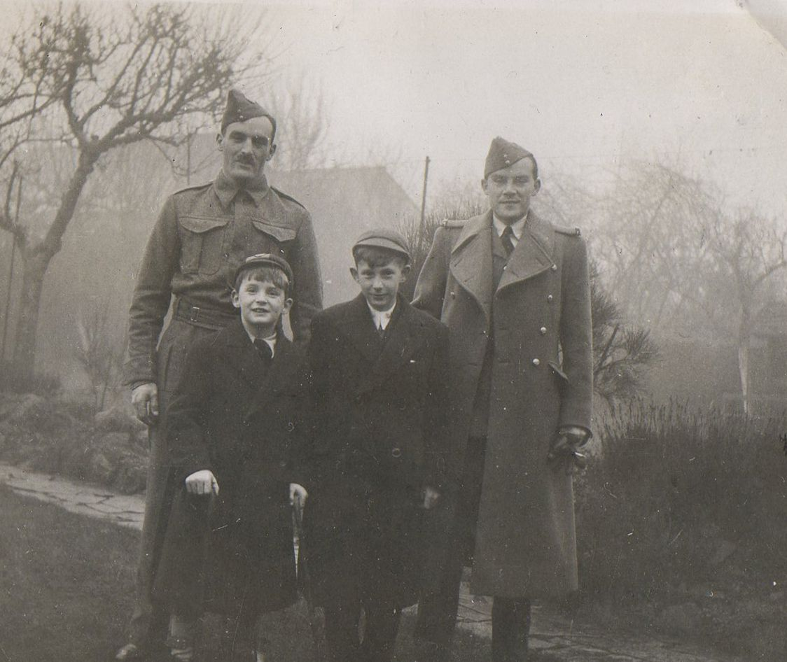 Brother Peter and Michael with their elder half brothers, Croydon, 1939.